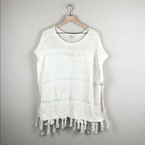 Lucky Brand Fringe Poncho Sweater (Size XS/S)